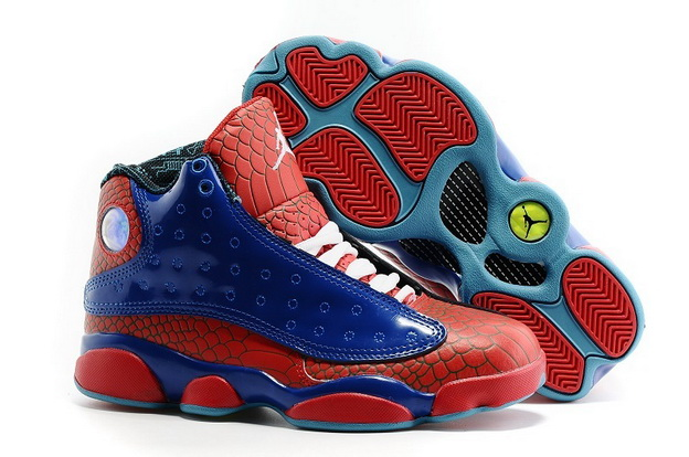 "Womens Jordan 13 ""Spider Man"" Shoes Red/blue white"